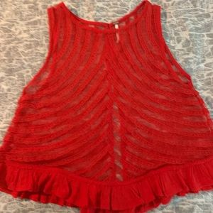 Free People red lace crop top